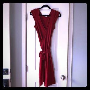 Red Wraparound Cocktail Dress